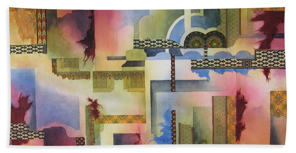 Abstract Hand Towel featuring the painting Pathways by Deborah Ronglien