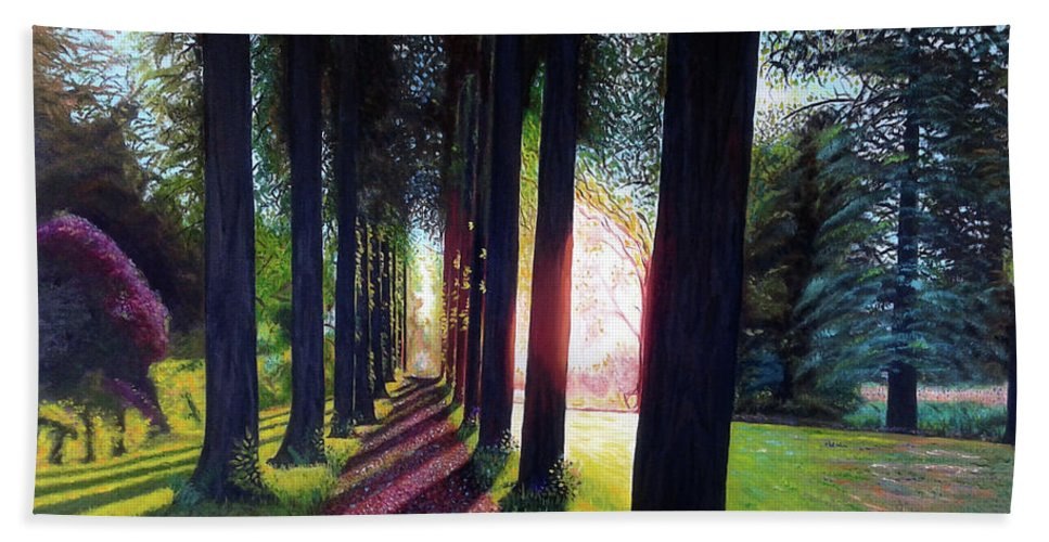 Landscape Bath Towel featuring the painting Pathy of light by Jose Manuel Abraham