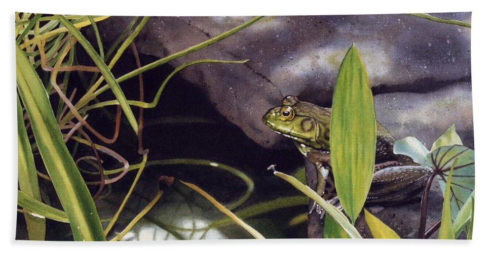 Frog Hand Towel featuring the painting Patience by Denny Bond