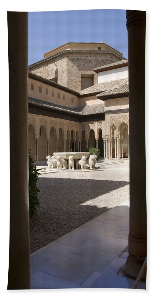 Patio Hand Towel featuring the photograph Patio De Los Leones Nasrid Palaces Alhambra Granada by Mal Bray