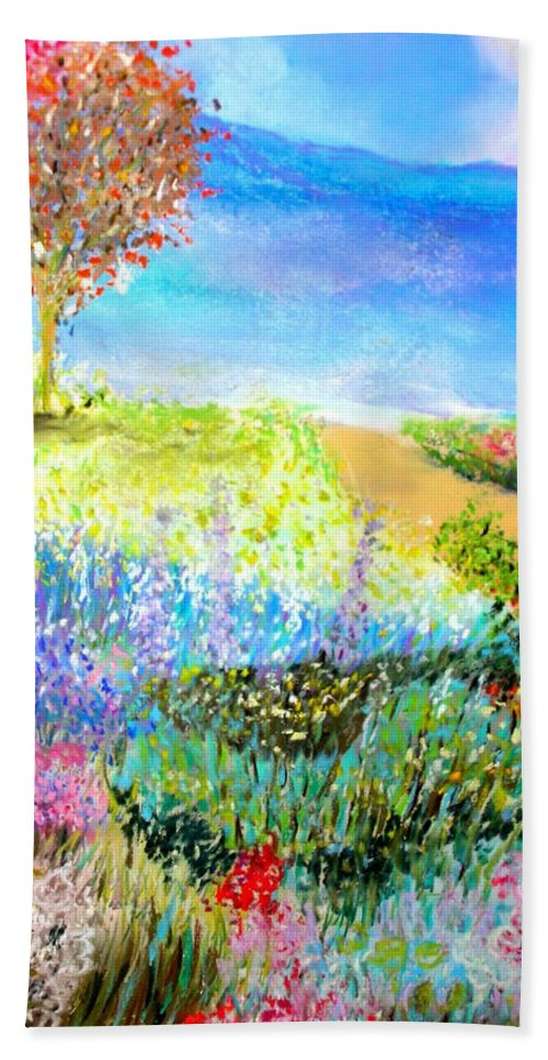 Landscape Bath Sheet featuring the print Patricia's Pathway by Melinda Etzold