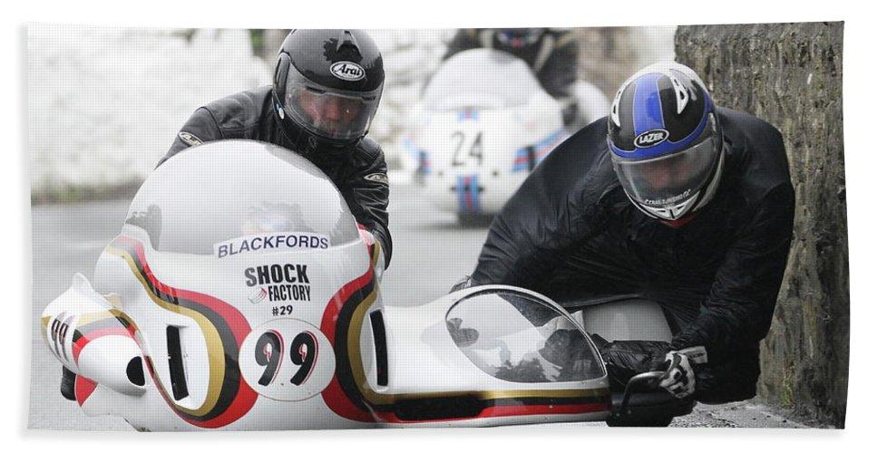 Motorbike Racing Bath Sheet featuring the photograph Patrick Geffray/phillppe Szendroi by Richard Norton Church