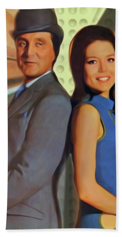 Patrick Bath Sheet featuring the digital art Patrick Macnee And Diana Rigg, The Avengers by Mary Bassett