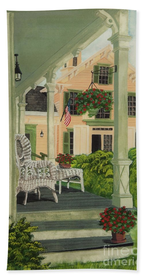 Side Porch Hand Towel featuring the painting Patriotic Country Porch by Charlotte Blanchard