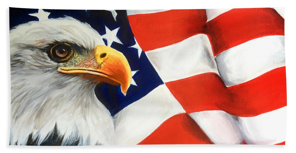 Patriotic Eagle Flag America First Books Fantasy People Realism Graphic Novels Sci-fi Bath Sheet featuring the mixed media Patriotic Eagle And Flag by Robert Korhonen