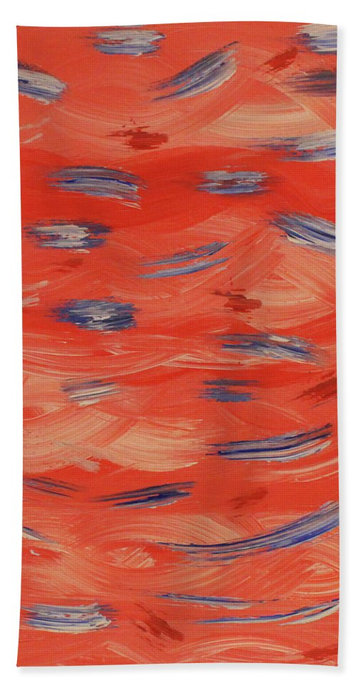 Red Bath Sheet featuring the painting Patriotic by Jennifer C Griffen