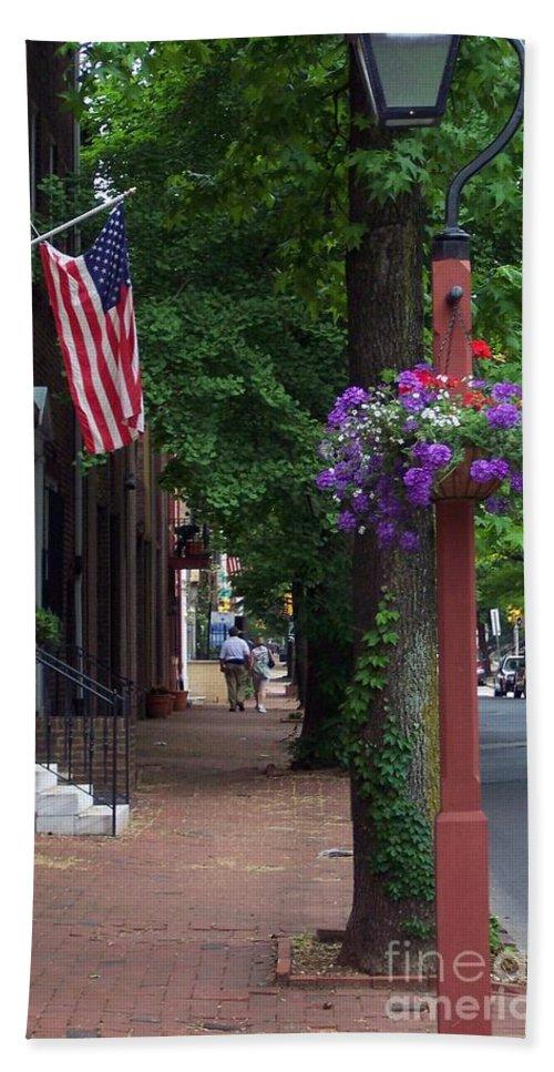 Cityscape Bath Towel featuring the photograph Patriotic Street In Philadelphia by Debbi Granruth