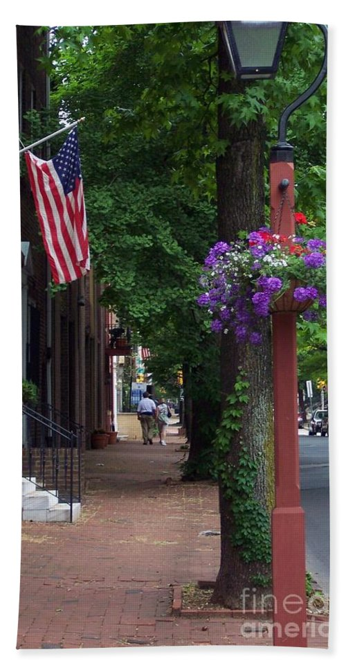 Cityscape Bath Sheet featuring the photograph Patriotic Street In Philadelphia by Debbi Granruth