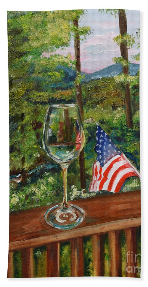 American Flag Hand Towel featuring the painting Star Spangled Wine - Fourth Of July - Blue Ridge Mountains by Jan Dappen