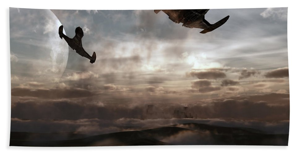 Sci-fi Hand Towel featuring the digital art Patrol Of Sector 9 by Richard Rizzo