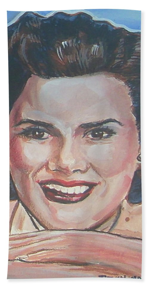 Patsy Cline Hand Towel featuring the painting Patsy Cline by Bryan Bustard