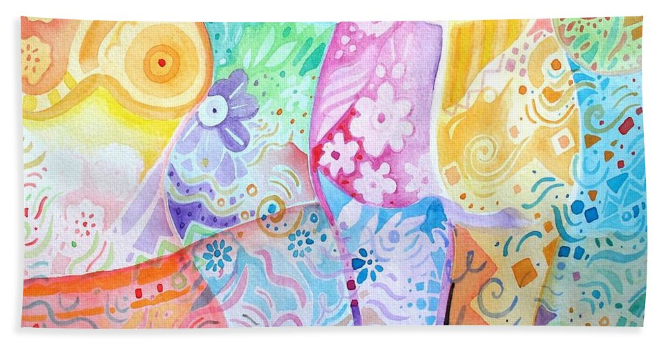 Woman Hand Towel featuring the painting Pattern And Form I by Helena Tiainen