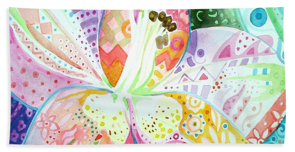 Flower Hand Towel featuring the painting Pattern And Form II by Helena Tiainen