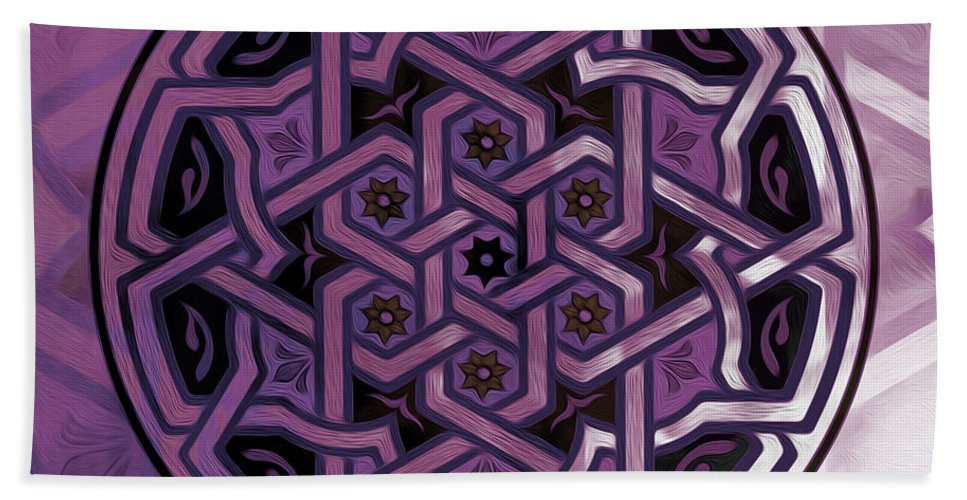 Islamic Art Bath Sheet featuring the painting Pattern Art 0014 by Gull G