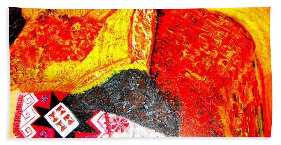 Orange Bath Sheet featuring the painting Patterns by Duygu Kivanc