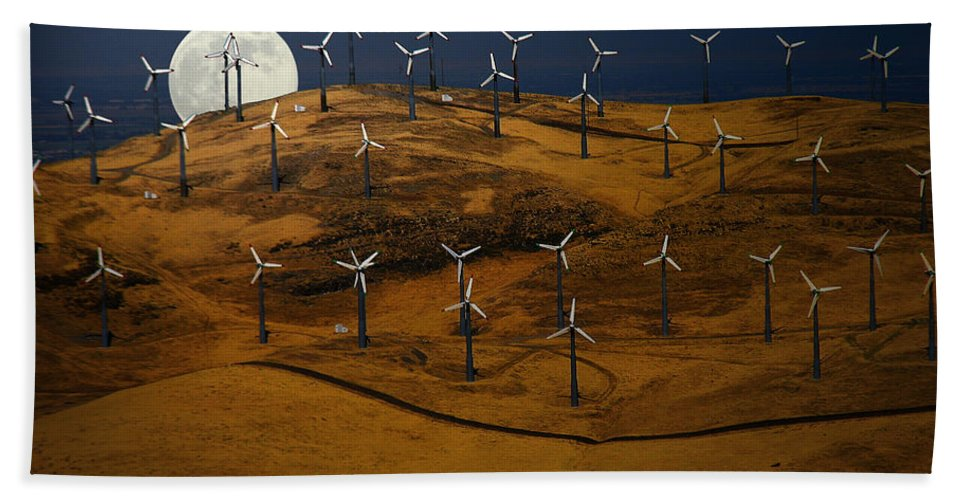 Landscape Bath Towel featuring the photograph Patterson Pass Wind Farm by Karen W Meyer