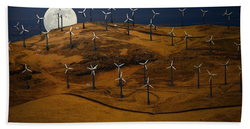 Landscape Bath Sheet featuring the photograph Patterson Pass Wind Farm by Karen W Meyer