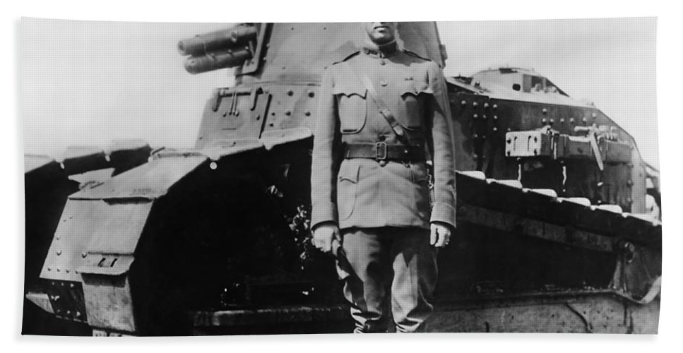 George Patton Bath Towel featuring the photograph Patton Beside a Renault Tank - WWI by War Is Hell Store