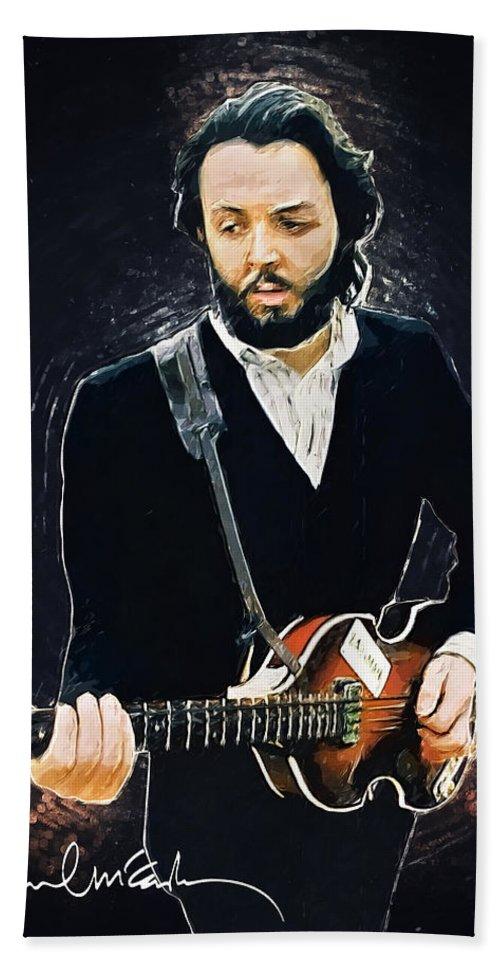 Paul Mccartney Bath Towel featuring the digital art Paul McCartney by Zapista OU