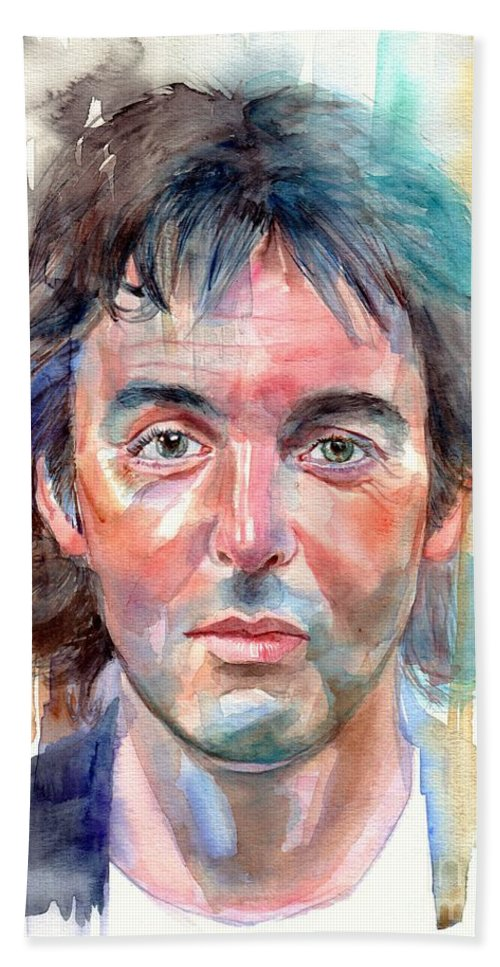 Paul Bath Towel featuring the painting Paul McCartney young portrait by Suzann Sines