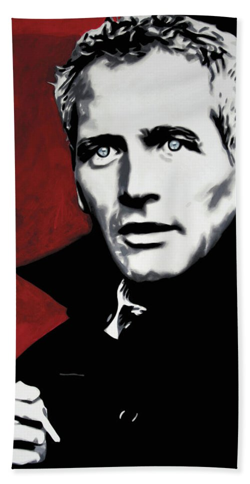 Paul Newman Hand Towel featuring the painting Paul Newman by Luis Ludzska