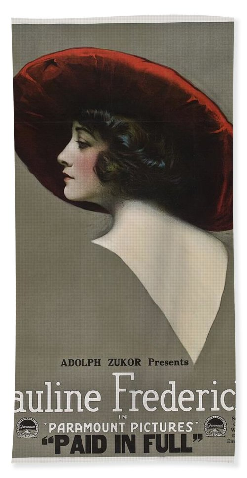 Movie Bath Sheet featuring the drawing Pauline Frederick In Paid In Full 1919 by Mountain Dreams