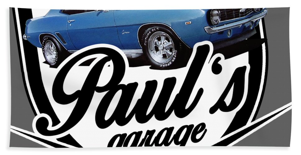 Garage Hand Towel featuring the digital art Pauls Garage Camaro by Paul Kuras