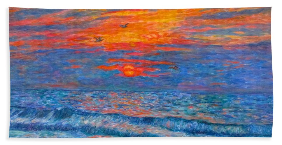 Pawleys Island Bath Sheet featuring the painting Pawleys Island Sunrise In The Sand by Kendall Kessler