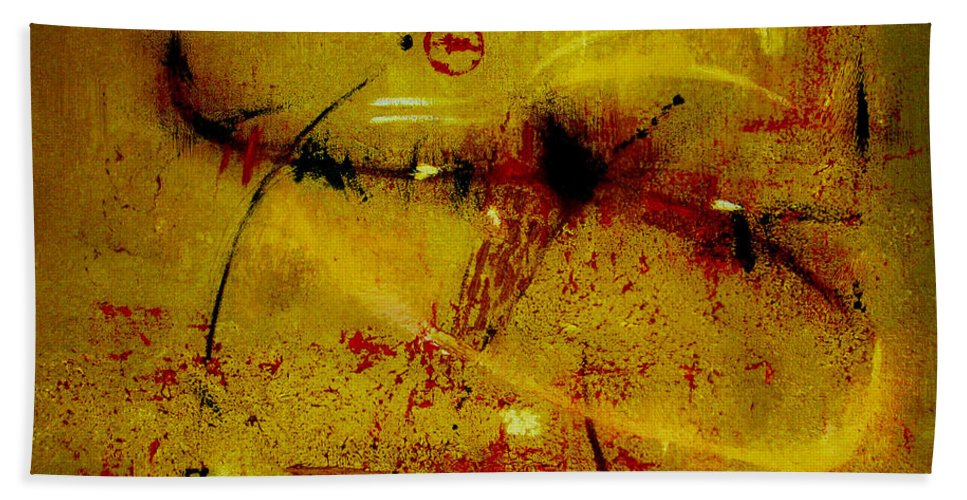 Abstract Bath Sheet featuring the painting Pay More Careful Attention by Ruth Palmer