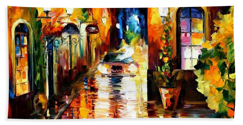 Afremov Bath Sheet featuring the painting Paying A Visit by Leonid Afremov