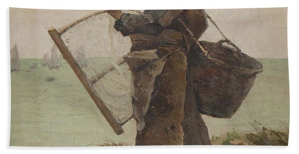 Henri Gaston Darien  Bath Sheet featuring the painting Pcheuse Bretonne by Henri Gaston DARIEN