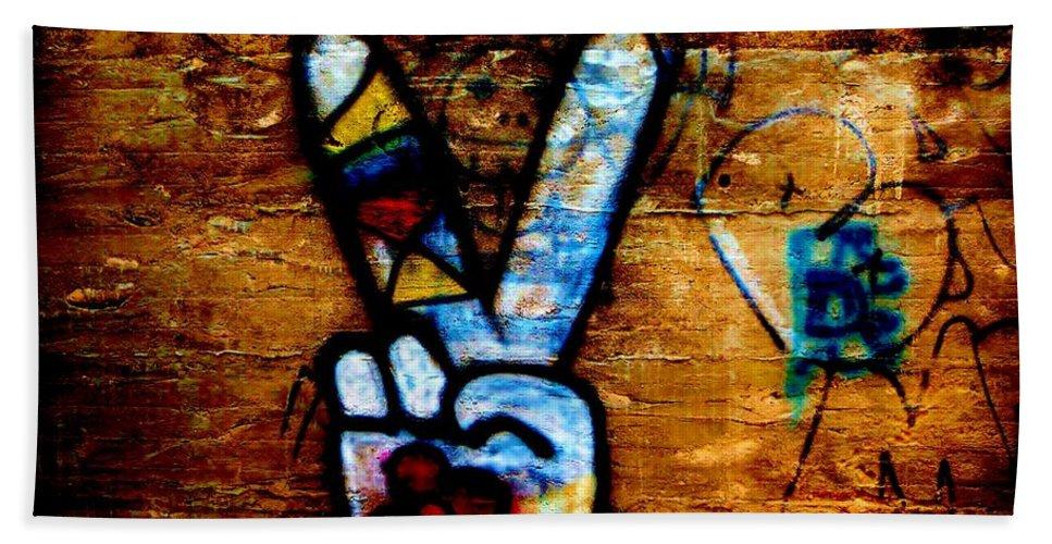 Grafitti Art Bath Sheet featuring the photograph Peace And Love by Amar Sheow