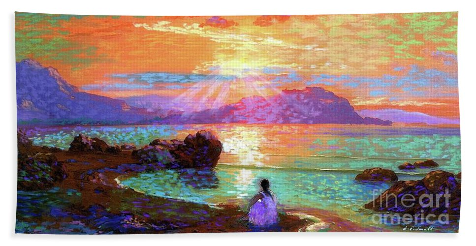 Sun Bath Towel featuring the painting Peace Be Still Meditation by Jane Small