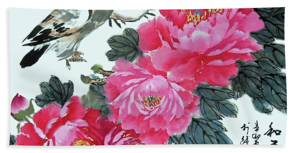 Red Peonies Hand Towel featuring the photograph Peace Flowers by Yufeng Wang