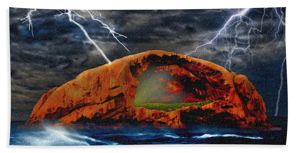 Peace In The Cleft Hand Towel featuring the digital art Peace In The Cleft In The Midst Of The Storm by Chas Sinklier