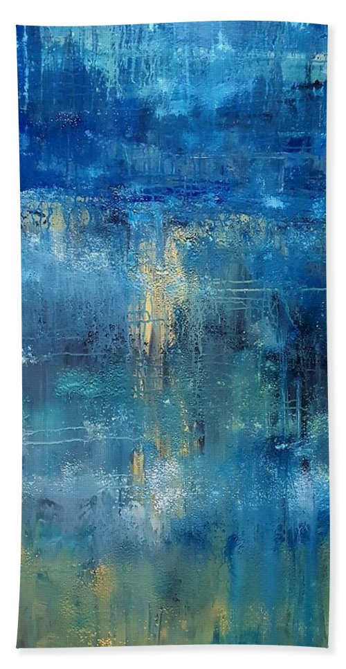 Abstract Hand Towel featuring the painting Peace Joy Love by Tanya Lozano Abstract Expressionism