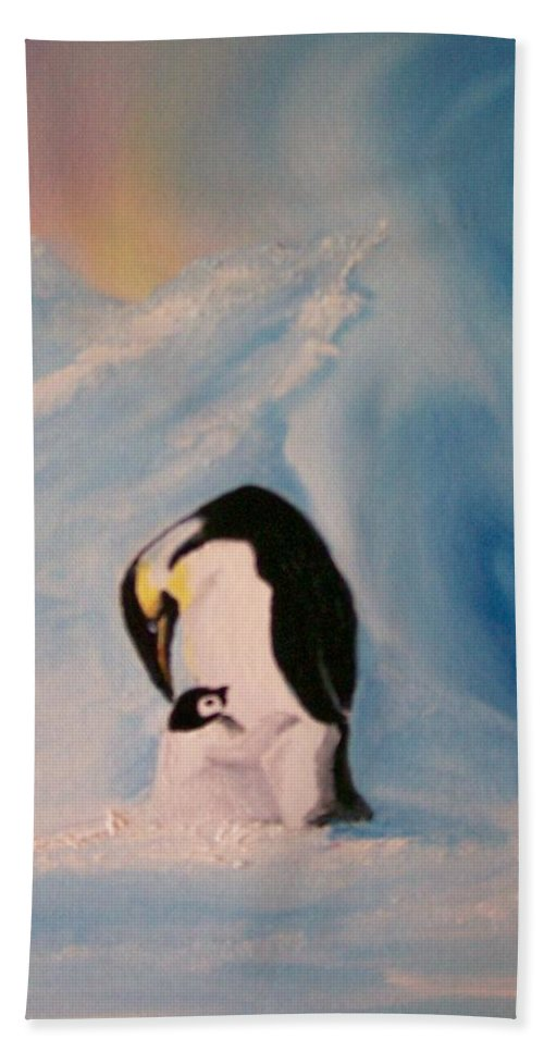 Penguin Hand Towel featuring the painting Peace by Leo Gordon