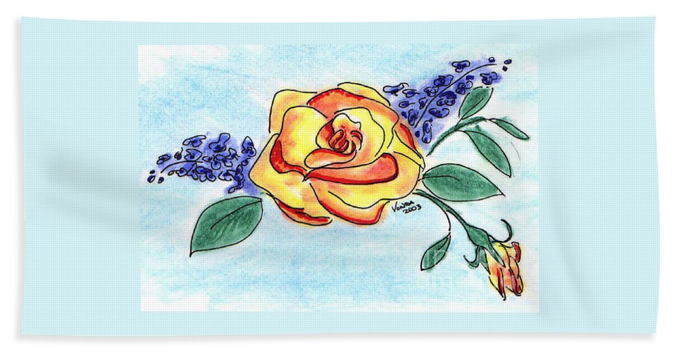 Rose Hand Towel featuring the drawing Peace Rose by Vonda Lawson-Rosa