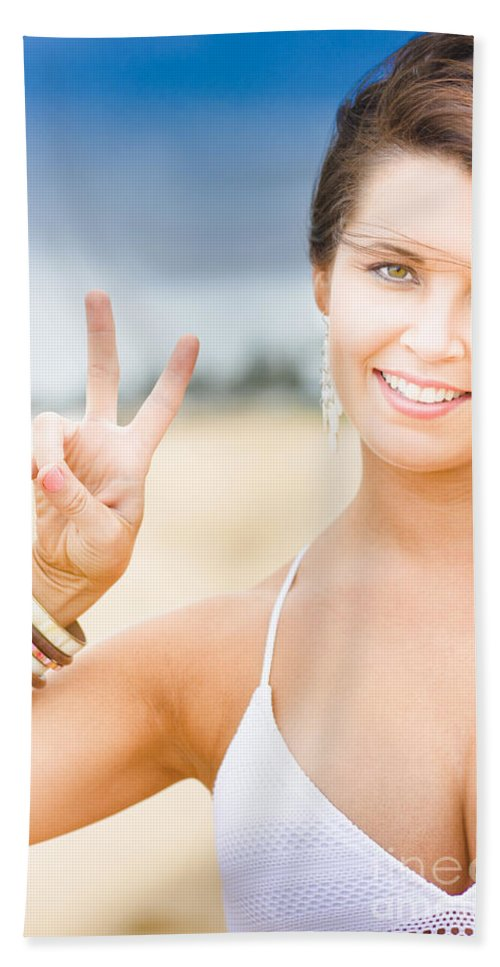 25-30 Hand Towel featuring the photograph Peace Sign by Jorgo Photography - Wall Art Gallery