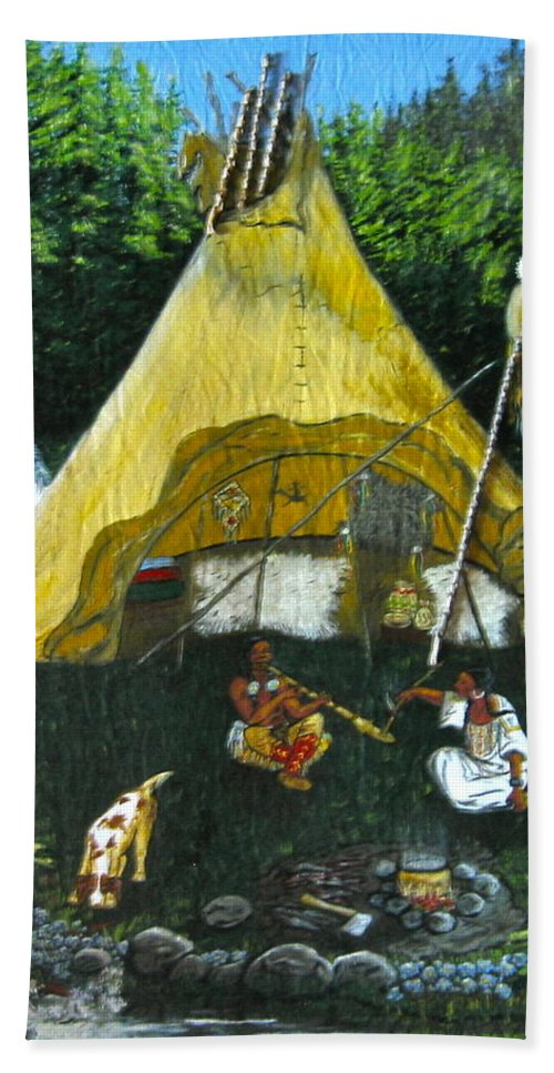 American Indians Hand Towel featuring the painting Peace Smoke At Sundown by V Boge
