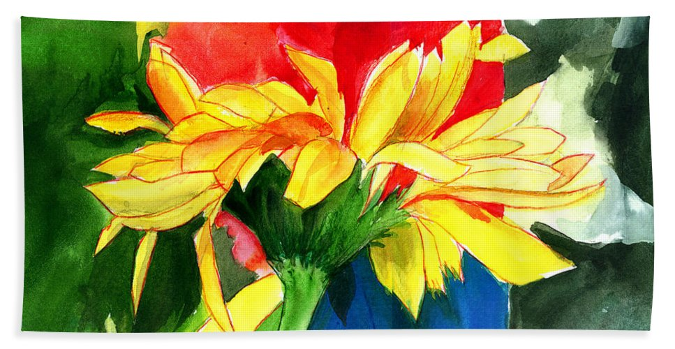 Peace Hand Towel featuring the painting Peace Square by Anil Nene