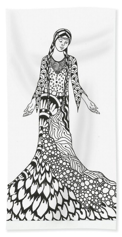 Pencil Hand Towel featuring the drawing Peace Woman Wild Ink by Jamie Ramirez
