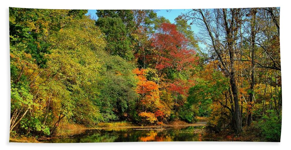 Autumn Bath Towel featuring the photograph Peaceful Calm - Allaire State Park by Angie Tirado