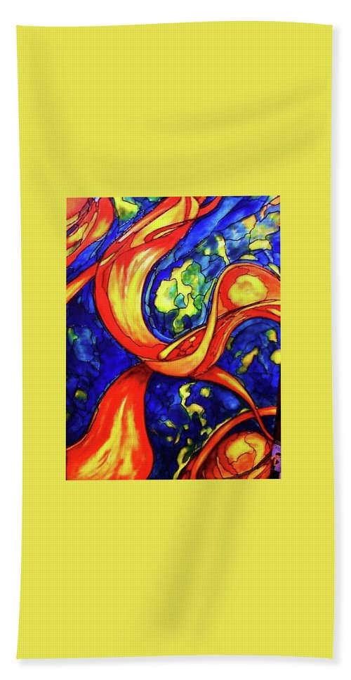 Original Art Hand Towel featuring the painting Peaceful Coexistence by Rae Chichilnitsky