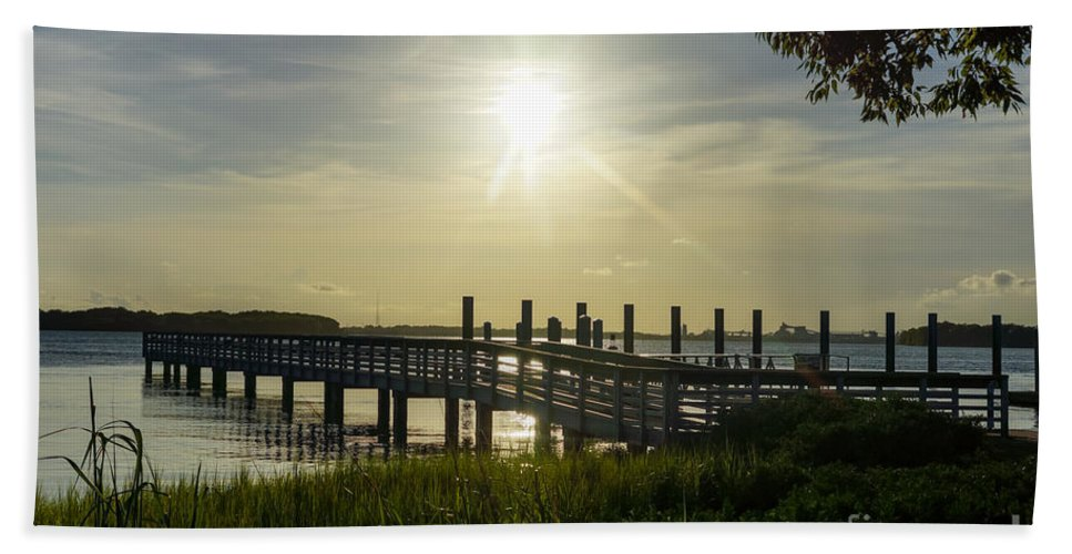 America Hand Towel featuring the photograph Peaceful Evening At Cooper River by Jennifer White
