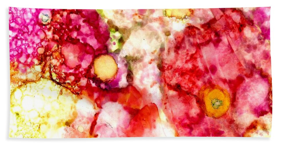 Alcohol Inks Bath Sheet featuring the painting Peaceful Place by Janet Reed