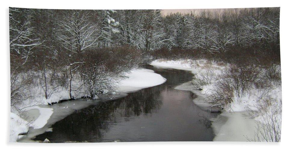 Landscape Bath Sheet featuring the photograph Peaceful River by Gene Lossman