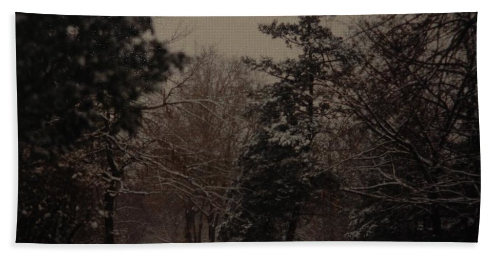 Lights Hand Towel featuring the photograph Peaceful Snow Dusk by Rob Hans