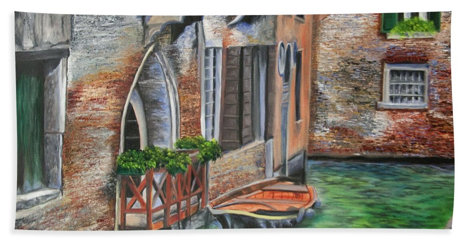 Venice Paintings Bath Sheet featuring the painting Peaceful Venice Canal by Charlotte Blanchard