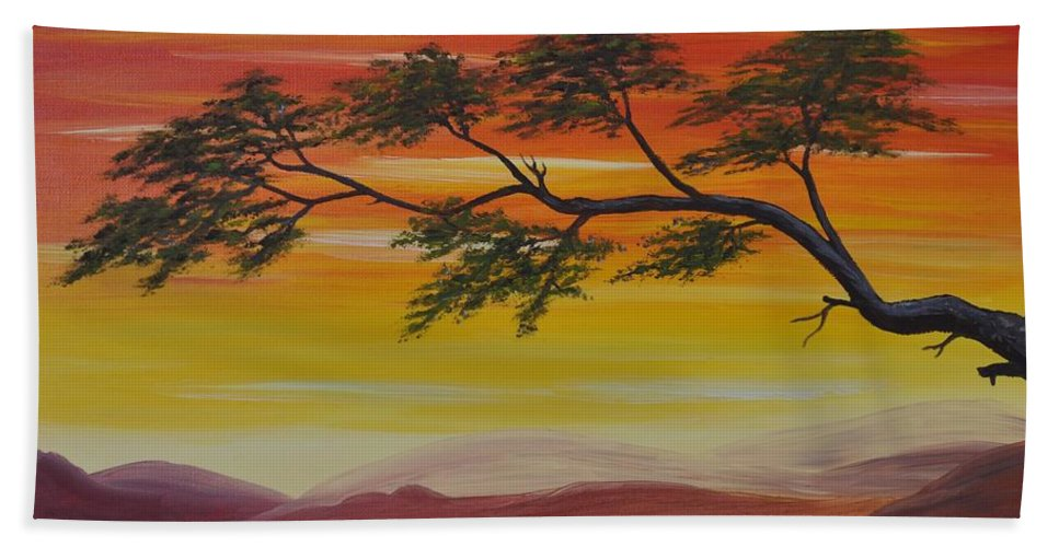 Sunset Hand Towel featuring the painting Peacefulness by Georgeta Blanaru